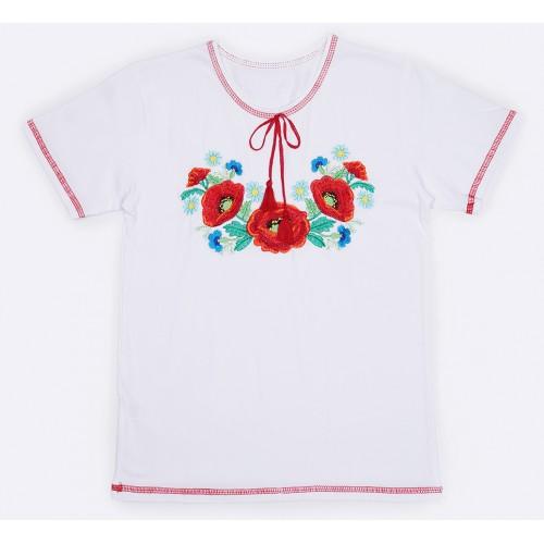 Вышиванка Malta 19ДД263-24-В Маки белая
