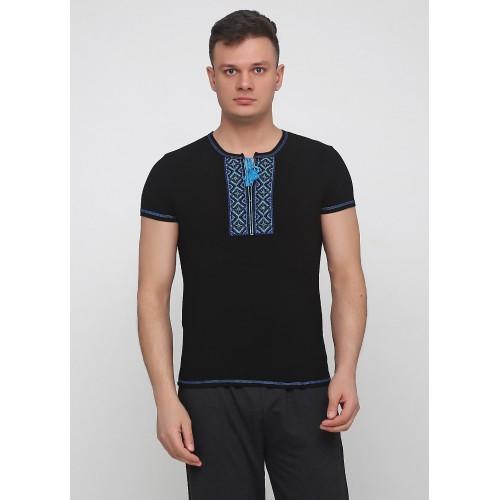 Вышиванка Malta 19М299-24-В черная голубая вышивка